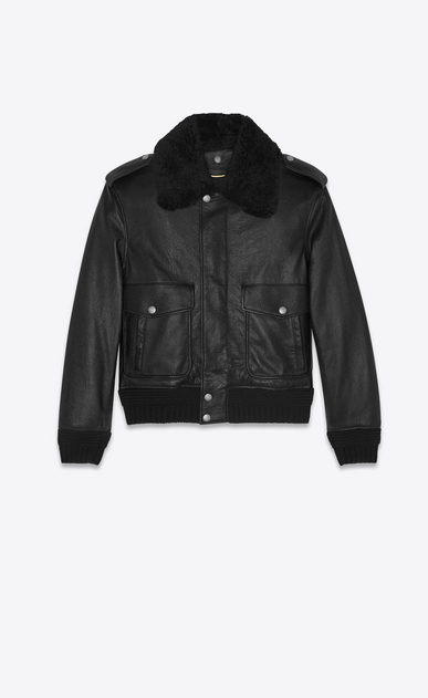 SAINT LAURENT Leather jacket Woman bomber jacket in black leather and shearling a_V4