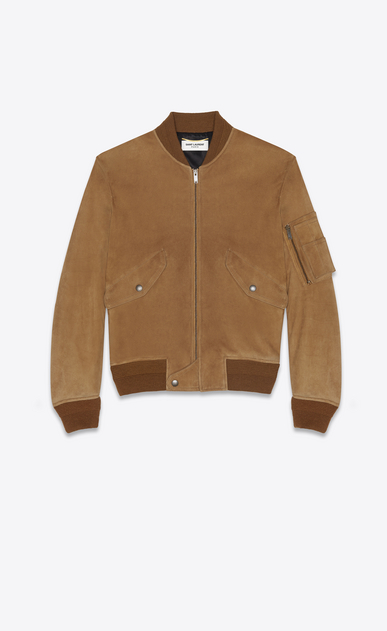 SAINT LAURENT Leather jacket Woman Bomber jacket in tobacco suede a_V4