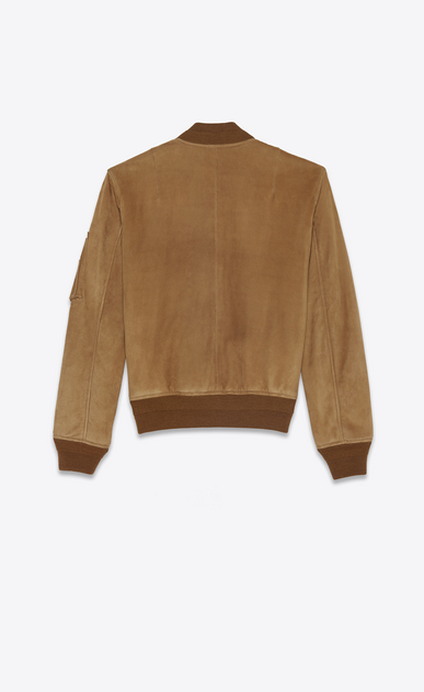 SAINT LAURENT Leather jacket Woman Bomber jacket in tobacco suede b_V4