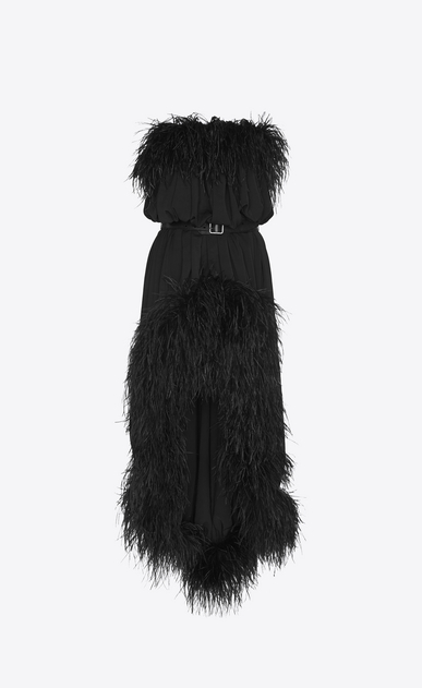 SAINT LAURENT Dresses Woman Strapless dress with feathers in matte black polyester a_V4