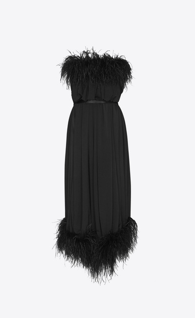 SAINT LAURENT Dresses Woman Strapless dress with feathers in matte black polyester b_V4