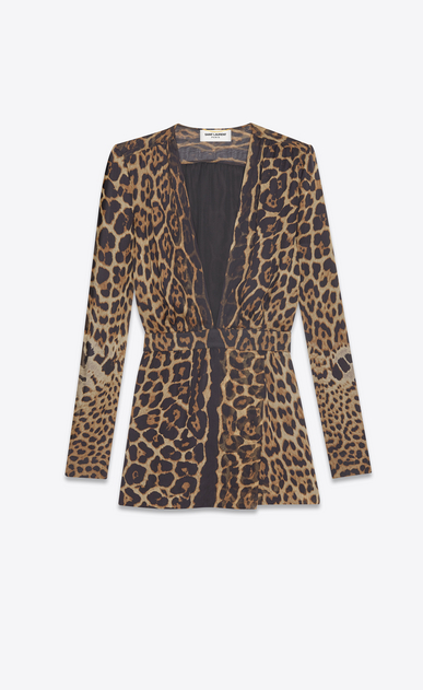 SAINT LAURENT Dresses Woman Plunging neckline dress in brown and black leopard print muslin a_V4