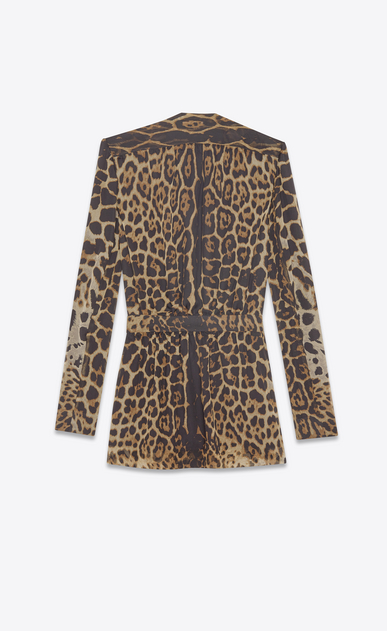 SAINT LAURENT Dresses Woman Plunging neckline dress in brown and black leopard print muslin b_V4