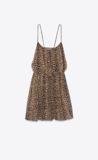 SAINT LAURENT Dresses Woman SILK GEORGETTE DRESS IN LEOPARD PRINT a_V4
