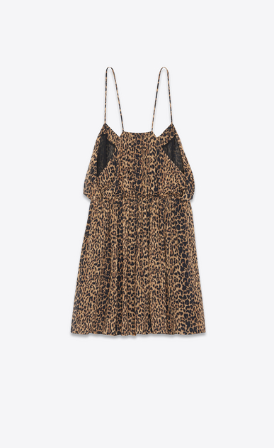 SAINT LAURENT Dresses Woman SILK GEORGETTE DRESS IN LEOPARD PRINT b_V4