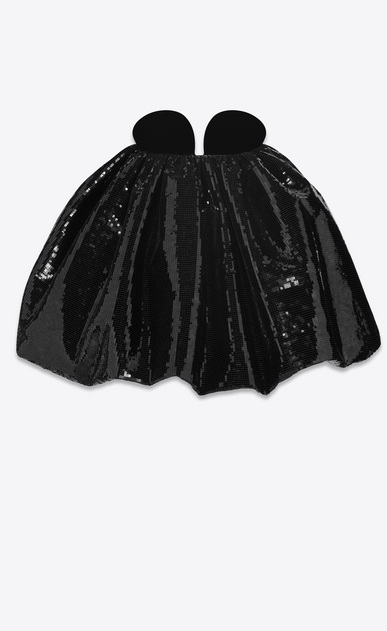 SAINT LAURENT Dresses Woman Strapless mini dress in black sequins and black velvet a_V4