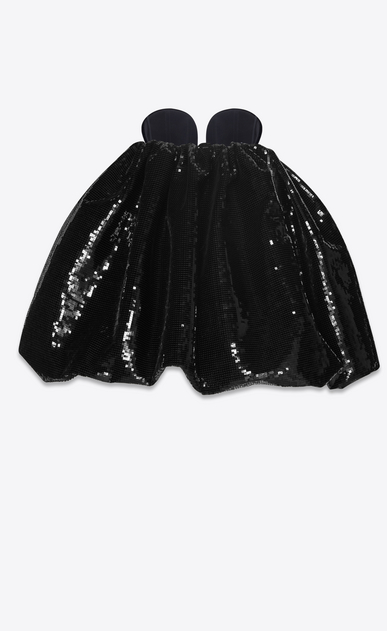 SAINT LAURENT Dresses Woman Strapless mini dress in black sequins and black velvet b_V4