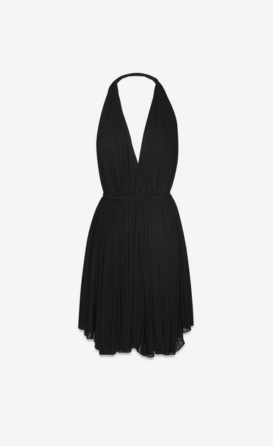 SAINT LAURENT Dresses Woman Draped backless dress in black jersey a_V4
