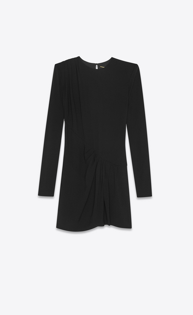 SAINT LAURENT Dresses Woman Draped dress in black sablé a_V4