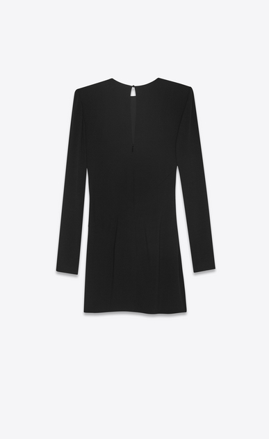 SAINT LAURENT Dresses Woman Draped dress in black sablé b_V4