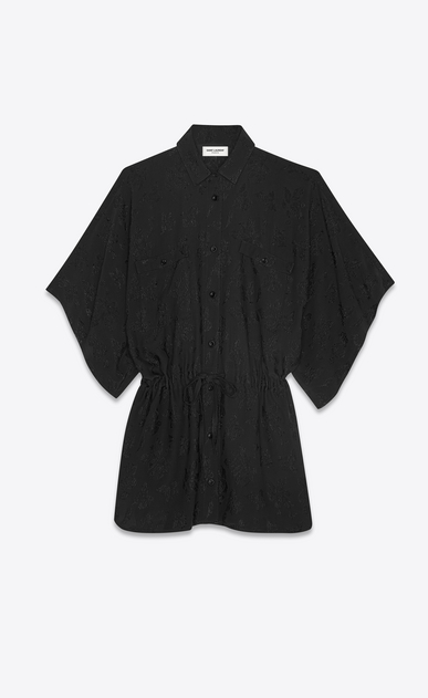 SAINT LAURENT Dresses Woman Kimono shirt dress in black silk with a leaf print a_V4