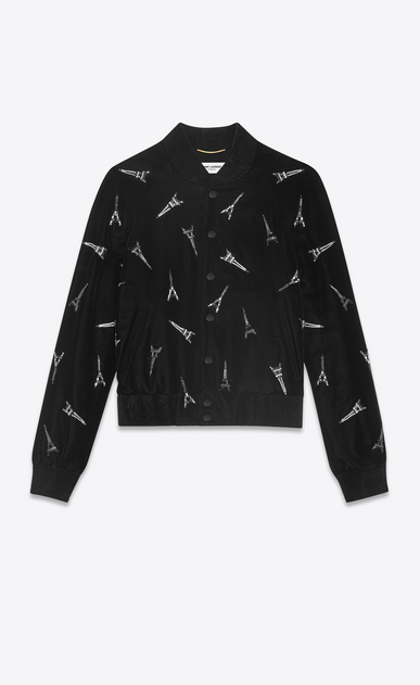 SAINT LAURENT Casual Jackets Woman EIFFEL TOWER varsity jacket in black velvet with emboidered black and white crystals a_V4