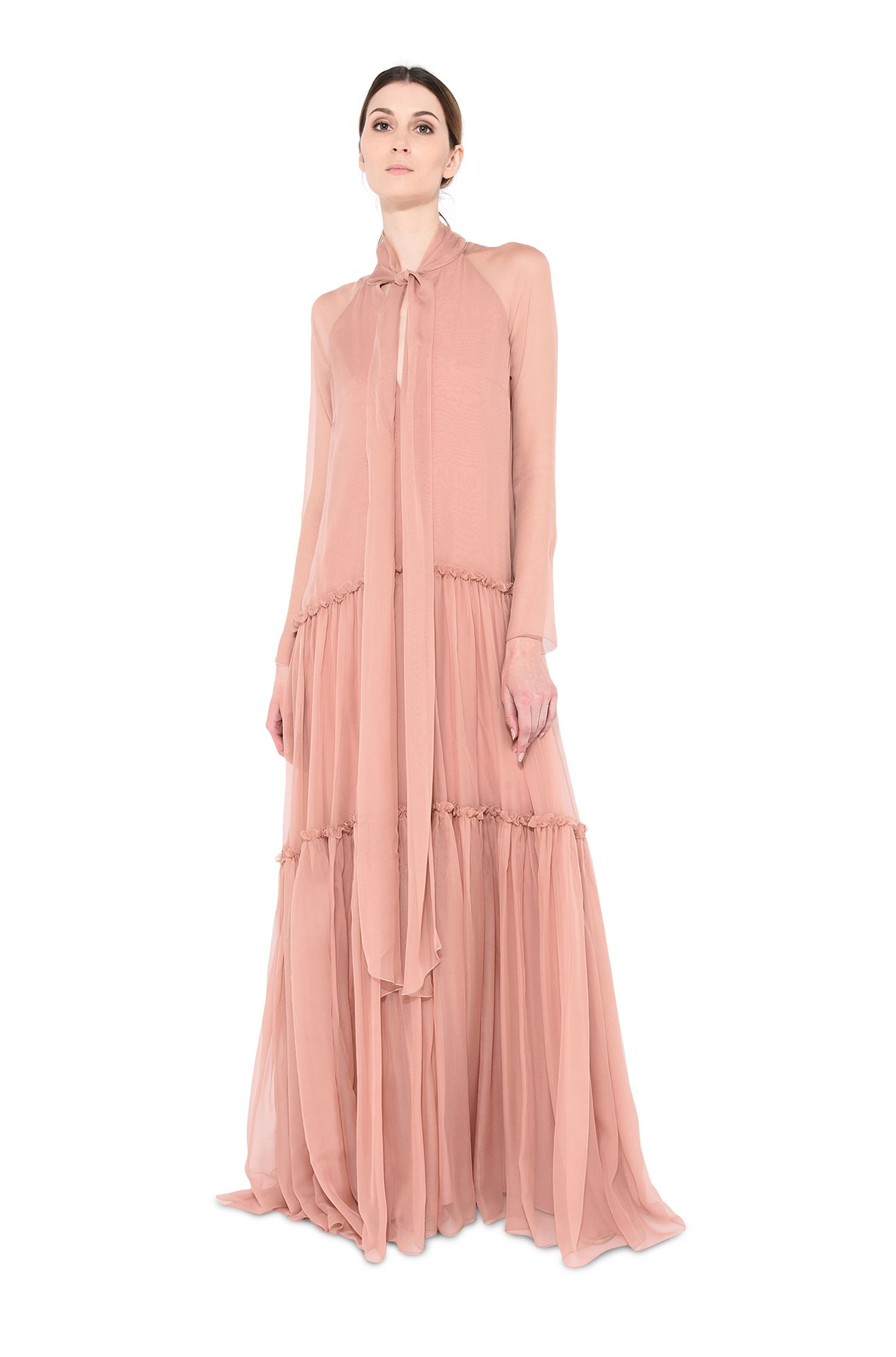 Chiffon dress with bow