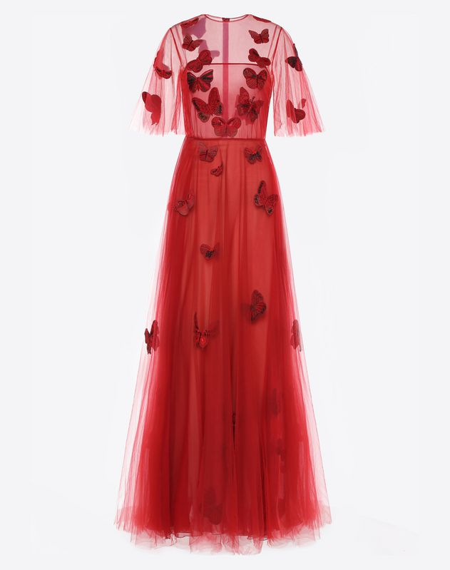 Embroidered tulle evening dress for Woman | Valentino Online Boutique