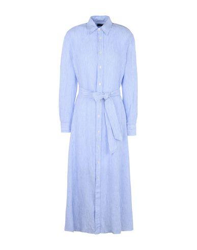 POLO RALPH LAUREN レディース ロングワンピース&ドレス スカイブルー 2 麻 100% Striped Linen Shirtdress