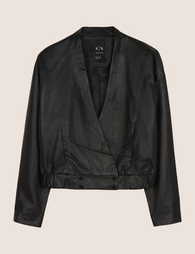 CROPPED LEATHER WRAP JACKET