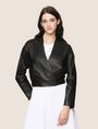 ARMANI EXCHANGE CROPPED LEATHER WRAP JACKET Leather Woman f