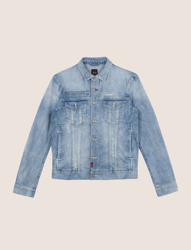 DISTRESSED LIGHT INDIGO TRUCKER JACKET