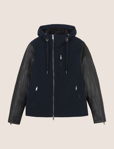 CONTRAST SLEEVE HOODED JACKET