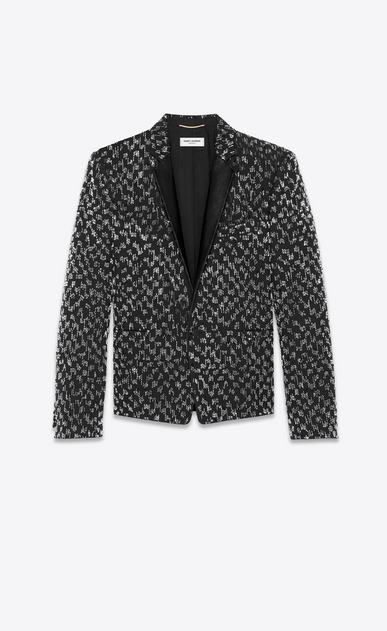 SAINT LAURENT Evening Jackets Man short straight-cut embroidered jacket in black grain de poudre a_V4