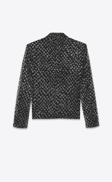 SAINT LAURENT Evening Jackets Man short straight-cut embroidered jacket in black grain de poudre b_V4