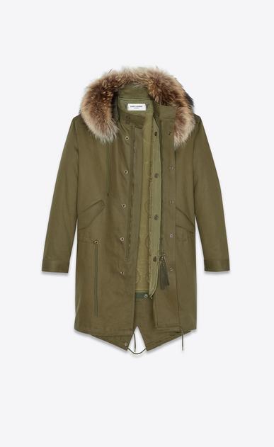 SAINT LAURENT Casual Jacken Herren Parka aus khakifarbenem Baumwollgabardine und Waschbärpelz b_V4