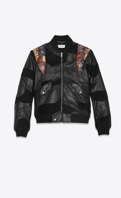 SAINT LAURENT Leather jacket Man Studded patchwork bomber jacket in black leather and multicolored python V4