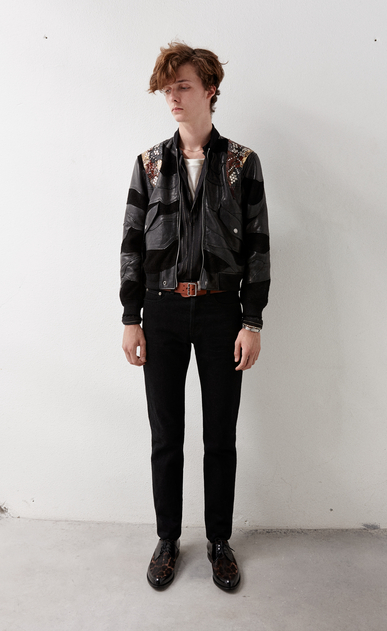 SAINT LAURENT Leather jacket Man Studded patchwork bomber jacket in black leather and multicolored python x_V4
