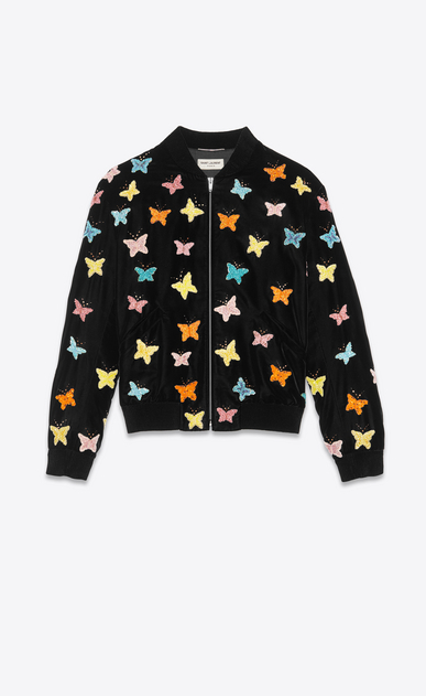 SAINT LAURENT Casual Jackets Man varsity black velvet jacket with hand-embroidered butterflies a_V4