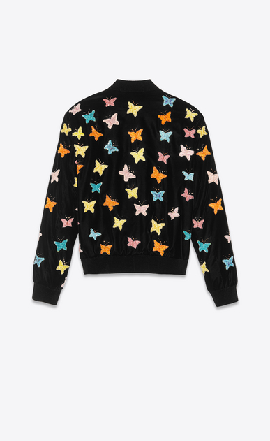 SAINT LAURENT Casual Jackets Man varsity black velvet jacket with hand-embroidered butterflies b_V4
