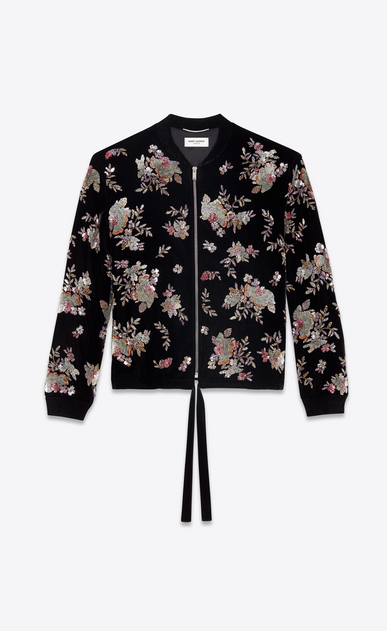 SAINT LAURENT Casual Jackets Man Varsity black velvet jacket with hand-embroidered flowers a_V4