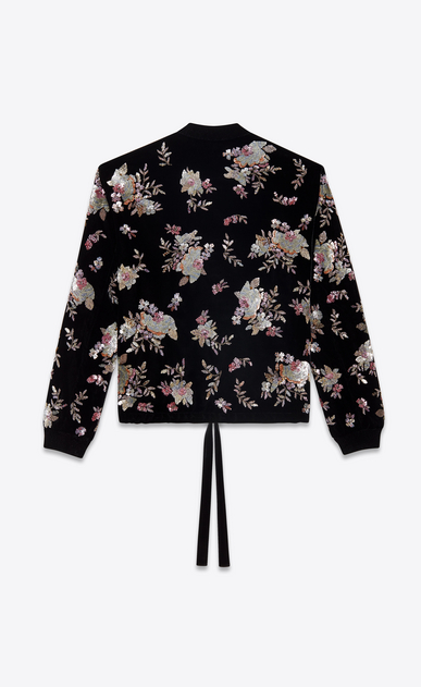 SAINT LAURENT Casual Jackets Man varsity black velvet jacket with hand-embroidered flowers b_V4