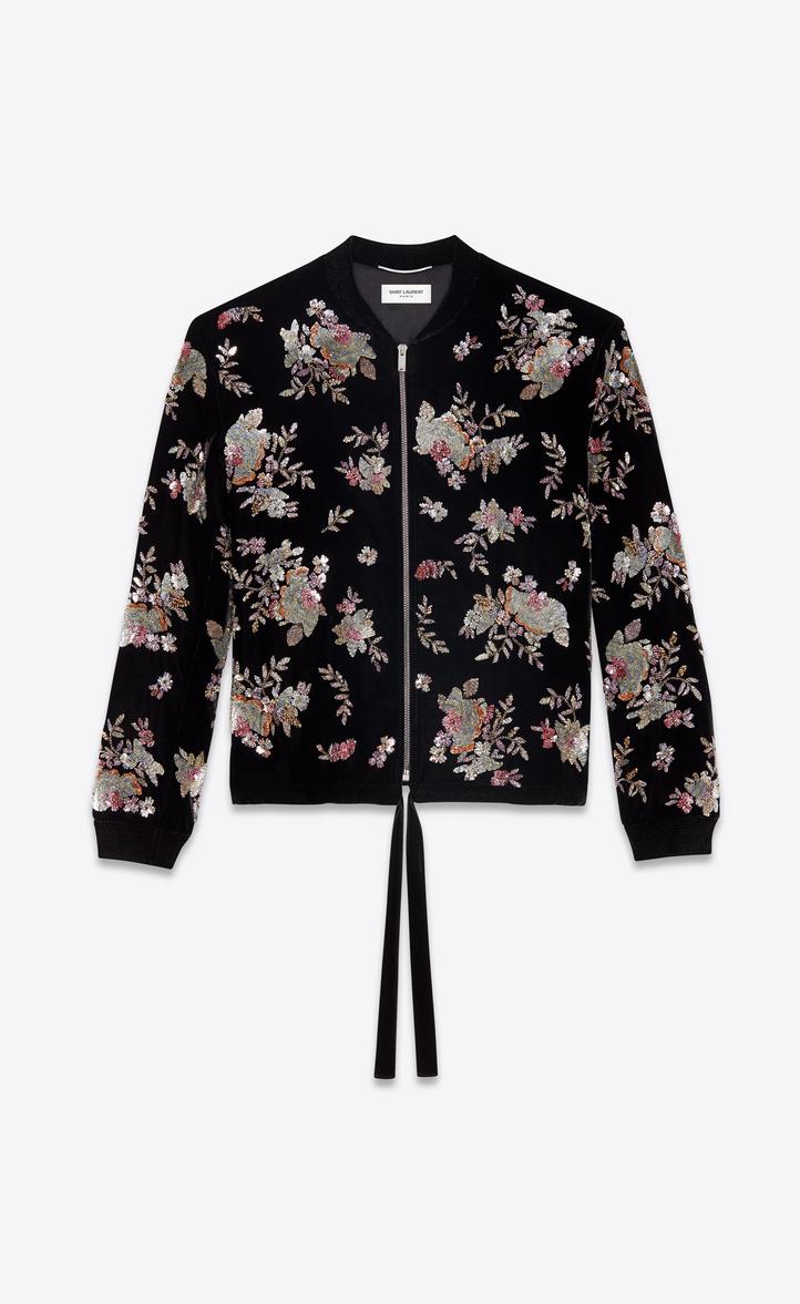Saint Laurent Varsity Black Velvet Jacket With Hand