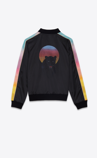 SAINT LAURENT Casual Jackets Man Panther varsity jacket in black and multicolored satin a_V4