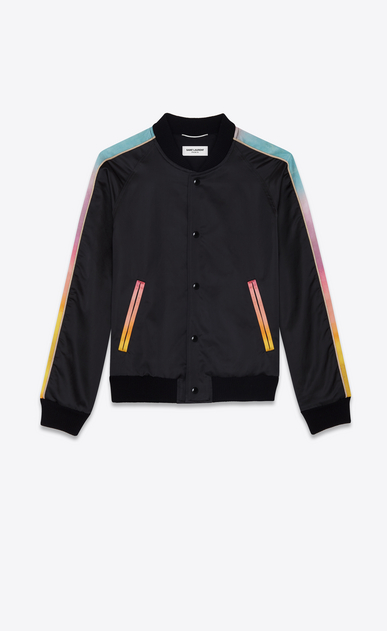 SAINT LAURENT Giacche Casual Uomo Giacca Panther varsity nera e multicolore in raso b_V4