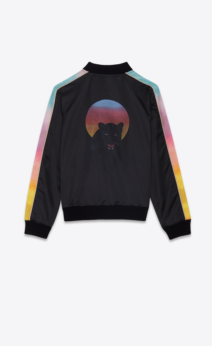Varsity Saint And Multicolored Panther Black Laurent Jacket In FFqEwxpPSn