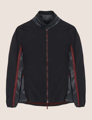 FAUX-LEATHER STAND COLLAR JACKET