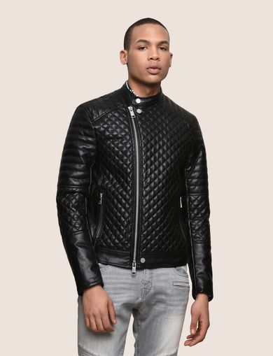 DIAMOND-QUILTED MOTO JACKET