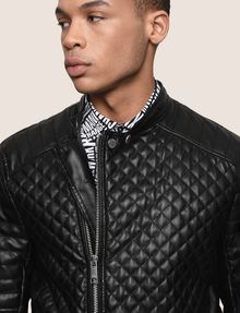 ARMANI EXCHANGE DIAMOND-QUILTED MOTO JACKET PU Man b