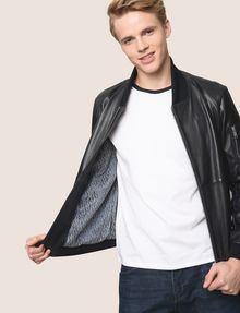 ARMANI EXCHANGE NYLON INSET LEATHER BOMBER Leather Man a