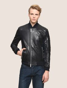 ARMANI EXCHANGE NYLON INSET LEATHER BOMBER Leather Man f