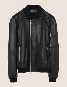 ARMANI EXCHANGE NYLON INSET LEATHER BOMBER Leather Man r