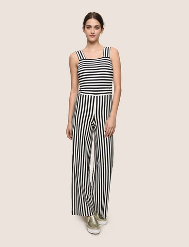 DIRECTIONAL STRIPE PONTE JUMPSUIT