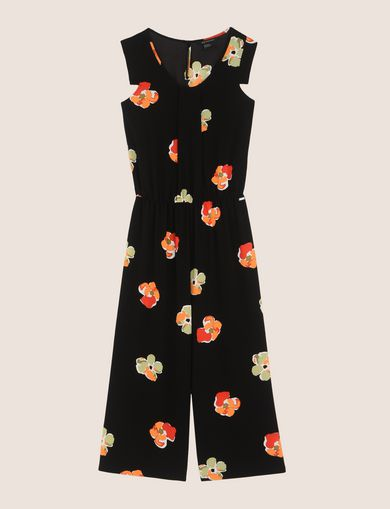 ABSTRACT FLORAL PLEATED JUMPSUIT