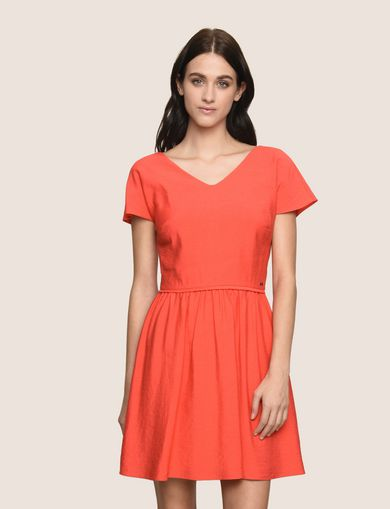 ARMANI EXCHANGE CROSS-BACK FIT-AND-FLARE DRESS Woman front