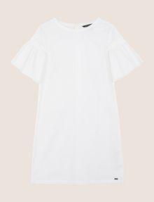 ARMANI EXCHANGE POPLIN PLEATED-SLEEVE TEE DRESS Mini dress Woman r