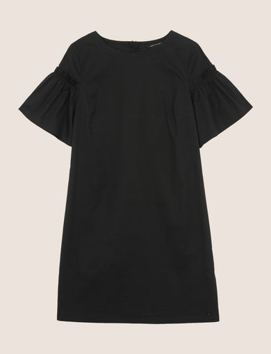POPLIN PLEATED-SLEEVE TEE DRESS