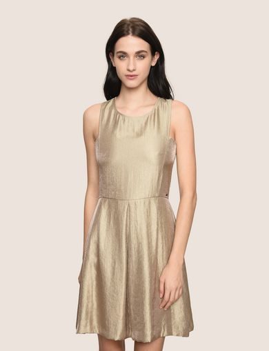 METALLIC SCOOPED-ARM FIT-AND-FLARE