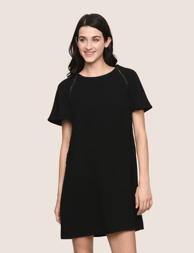 FLUTTER-SLEEVE EYELET TEE DRESS