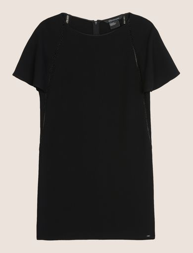 FLUTTER-SLEEVE EYELET TEE DRESS